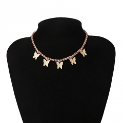 Fashion Butterfly Tassel Pendant Necklace Clavicle Crystal Chain Choker Collar Pink
