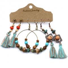 Boho Gypsy Earrings Tribal Ethnic Festival Tassel Ear Hook Drop Dangle Jewelry Tassel