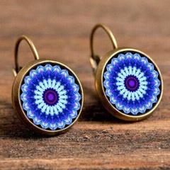 Boho Flower Drop Earrings For Women Vintage Jewelry Geometric Pattern Round Earrings Jewelry Bohemian Earrings Blue