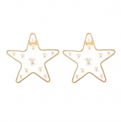 Fashion Pentagram Heart Transparent Pearl Stud Earrings Elegant Women Jewellery Star