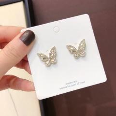 Fashion Crystal Rhinestones Butterfly Silver Earrings Women Jewelry Statement Butterfly