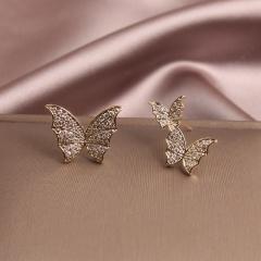Fashion Crystal Rhinestones flying Butterfly Gold Earrings Stud Earring for Women Jewelry Butterfly