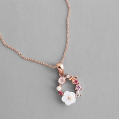 Creative Women Butterfly Flowers Shell Necklace Crystal Pearl Pendant Jewelry Flower