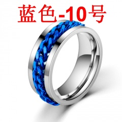 Rotatable titanium steel chain ring Blue 10