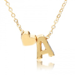 Fashion 26 Letter with Heart Pendant Necklace Gold Chain Short Alloy Necklace Jewelry Gift A