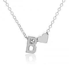 Fashion Heart with Letter Personality Short Necklace Alloy Silver Sexy China Necklace Jewelry B