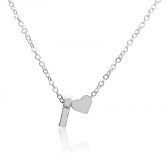 Fashion Heart with Letter Personality Short Necklace Alloy Silver Sexy China Necklace Jewelry I