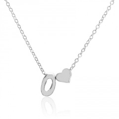 Fashion Heart with Letter Personality Short Necklace Alloy Silver Sexy China Necklace Jewelry O