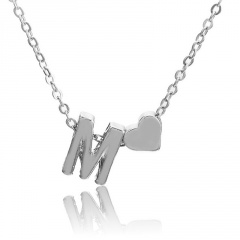 Fashion Heart with Letter Personality Short Necklace Alloy Silver Sexy China Necklace Jewelry M