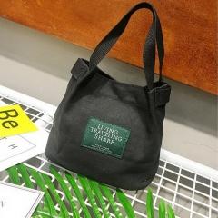 Ladies Canvas Portable Diagonal Casual Small Cloth Bag Black