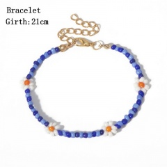 Rice bead Daisy flower bracelet Blue
