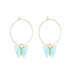 Fashion Butterfly Acrylic Insect Earrings Women Boho Dangle Drop Earring Cute Blue