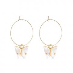 Fashion Butterfly Acrylic Insect Earrings Women Boho Dangle Drop Earring Cute White