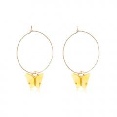 Fashion Butterfly Acrylic Insect Earrings Women Boho Dangle Drop Earring Cute Yellow