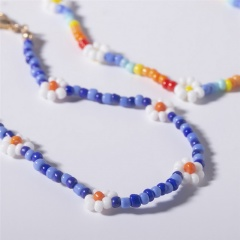 Rice pearl Daisy flower choker necklace Blue