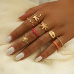 8 shell starfish knuckle ring sets Alloy