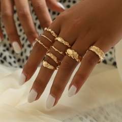 9 sets of irregularly twisted knuckle rings RZ268