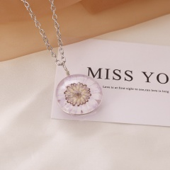 Natural Dried Sun Flower Glass Locket Necklace Round Double Side Silver Chain Light pink