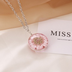 Natural Dried Sun Flower Glass Locket Necklace Round Double Side Silver Chain Pink