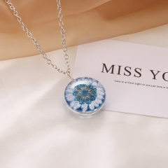 Natural Dried Sun Flower Glass Locket Necklace Round Double Side Silver Chain Blue