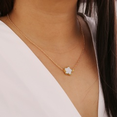 Womens Star Resin Frosted Pendant Necklace Gold Chain Clavicle Choker Collar White