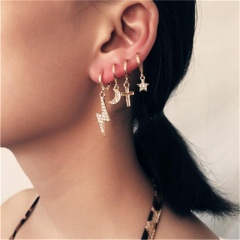 Lightning cross star moon ear ring ear clip combination earring Golden
