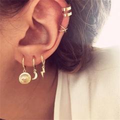 Moon eye lightning ear Ring Ear clip combination earring set 5-piece set Golden