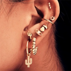 Punk Cactus Eye Butterfly Stud Earring Ring clip Combination earring set 9-piece set Golden