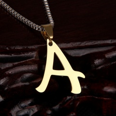 26 letter stainless steel number necklace A