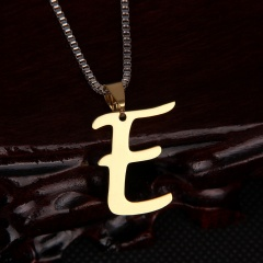 26 letter stainless steel number necklace E