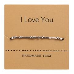 Morse code alphanumeric hand woven adjustable paper card bracelet I LOVE YOU