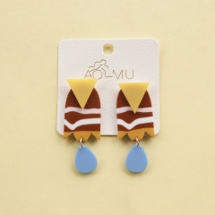 Fashion Contrast Acrylic Colorful Earrings Stud Round Dangle Women Party G Style 4