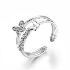 2020 Fashion Crystal Butterfly Open Ring Rose Gold Women Finger Knuckle Jewelry Silver