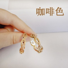 "New Fashion Enamel ""C"" Shape Hoop Earring Female Charm Jewelry Gift Coffee"