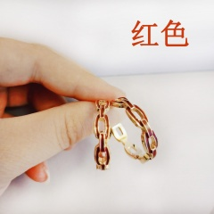 "New Fashion Enamel ""C"" Shape Hoop Earring Female Charm Jewelry Gift Red"