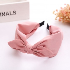 6 Colors Small Bowknot wide Headband Hair Accessories For Women's Fashion Jewelry Gift Pink