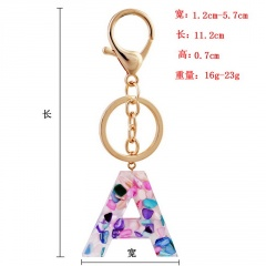 Lettering color acrylic translucent key chain A