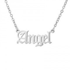 Retro English Letter Stainless Steel Angel Necklace Women Jewelry Couple Gift Necklace Baby Girl Princess Prince Honey Necklaces Angel-silver