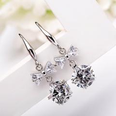 Korean Fashion Women Ladies Bowknot Tie Crystal Drop Pierced Earrings Silver