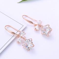 Korean Fashion Women Ladies Bowknot Tie Crystal Drop Pierced Earrings Gold