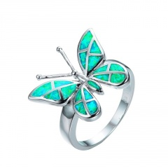 New Fashion Korean Colorful Wings Rings Vintage Animal Butterfly Finger Rings Green