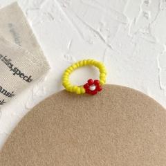 Floret elastic ring female Beaded Flower Hand Woven ring RI20Y0029-2