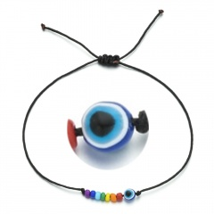 Butterfly rice bead black rope knitting Adjustable Bracelet BR20Y0031-11