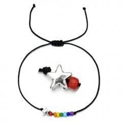 Butterfly rice bead black rope knitting Adjustable Bracelet BR20Y0031-2