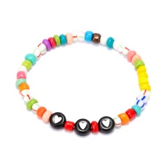 Letter words colorful rice beads Elastic Bracelet BR20Y0032-2