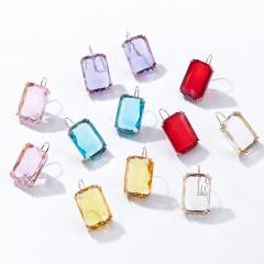 Fashion Square Rhinestone Hook Earrings Statement Shinning Alloy Stud Earring Jewelry Gift For Women Yellow