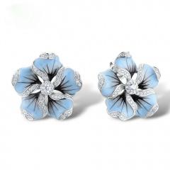 Blue Silver Flower Shape Stud Earring Zircon Gemstone With Rhinestone Elegant Stud Earring Jewelry For Women Flower