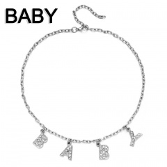 Letter Flash Rhinestone Clavicle Chain Necklace Card Choker Necklace Jewelry BABY