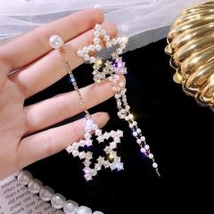 Korean New Arrival Sweet Crystal Holiday Flower Drop Earrings For Women Fashion Elegant Oorbellen Bijoux Party Gifts Star