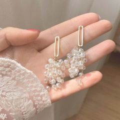 New Korean Earring Long Crystal Tassel Grape Earrings Female Advanced Sense Earring Fashion Jewelry For Women 2020 Gold Color
